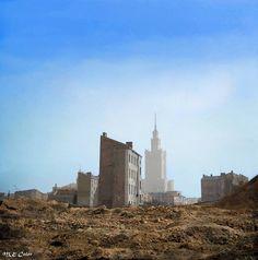 Warszawa powojenna, rok ok. 1955. .  Mikołaj Kaczmarek - Kolor Historii Monument Valley, New York Skyline, Nature, Travel, History, Fotografia, Warsaw, Naturaleza, Trips