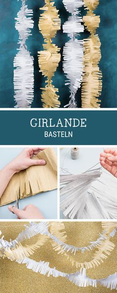 DIY-Ideen für bunte Girlanden, Partydeko selbermachen / diy inspiration for your next party, garlands in silver and gold via DaWanda.com