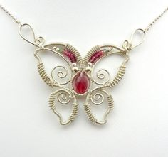 Pink Tourmaline Wire Wrapped Butterfly by TwistedBlissDesigns