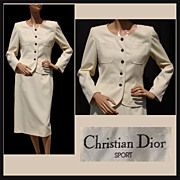 Vintage 80s Christian Dior Suit //  White Jacket with Matching Skirt Sport Label 1980s Ladies Size M 8