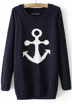 Navy Blue Anchor Print Pullover - Sweaters - Tops