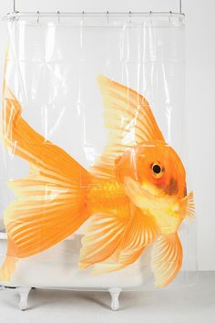 Goldfish Shower Curtain #urbanoutfitters  So cool, probaby would work in my bath.  Urban outfitters has the best stuff.