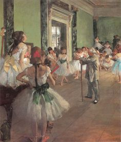 Edgar Degas – Dance Class (1873-1876) oil on canvas   Paris, Musée d'Orsay   Gallup, Gruitrooy and Weisberg, Great Paintings of the Western World, p. 493
