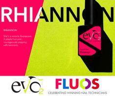 'Hot Pink' kleur uit de Fluos collectie van Evo by Bio Sculpture : Rhiannon.  Genoemd naar de dochter van collega Tamaryn uit Great Britain. Zij was één van de winnaressen van de Evo Name Game.
