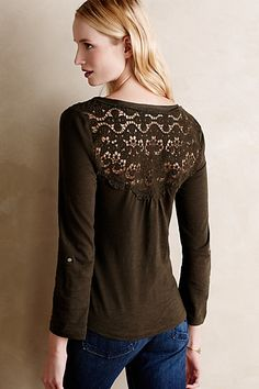 Quinn Henley - anthropologie.com love the lace detail on this shirt