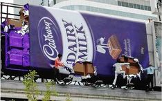 7. Cadburry - Cadburry is known to be one of the best tasting chocolate bars in the world, but tasty as a billboard ad? Yes, this billboard actually shows life-size mannequins eating and tearing the chocolate bar, little by little.