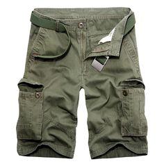 Mens Cargo Shorts Multi Pockets Summer Casual Sports Cargo Pants