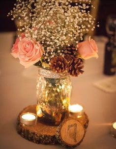Beautiful centerpieces, just without the pine cones