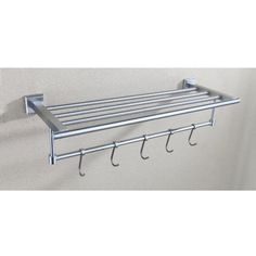 Angle Simple GA8201A Stainless Steel Shelf Towel Rack With Towel Hooks,  Brushed Steel Angle Simple