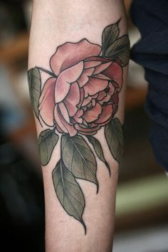 Garden rose tattoo by Alice Carrier, at Wonderland Tattoo in Portland, OR. http://wonderlandtattoospdx.tumblr.com http://alicecarrier.tumblr.com