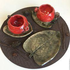 """Ceramic tea set Pomegranates / Чайная пара """"Гранат с листочком"""", керамика — работа дня на Ярмарке Мастеров. Узнать цену и купить: http://www.livemaster.ru/ta-ceramica"""