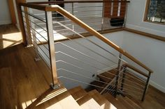 Contemporary Interior STAIR Railings | Oak & Stainless Steel Interior Railing contemporary-staircase