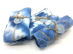 shibori, shibori dyed, indigo tea towel, bohemian kitchen idea, modern kitchen, bohemian home by WyomingCreativeEast