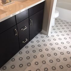 This #Porcelain #Cementine #BathroomTile is making us happy today! https://arizonatile.com/en/products/recycled-material-content/cementine-black-and-white