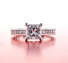 Princess Cut Engagement Rings - Classic Channel Set Ring featuring a melee of 18 Princess cut channel diamonds. Engagement Rings Channel Set, Classic Engagement Rings, Princess Cut Engagement Rings, Wedding Engagement, Wedding Jewelry, Wedding Rings, Fashion Rings, Diamond Rings, Mehndi Designs