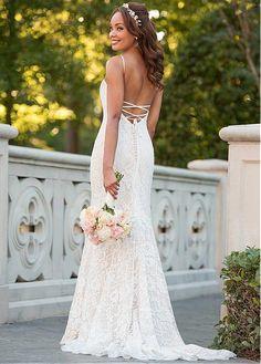 f2fb601e7e60 Buy discount Amazing Lace Spaghetti Straps Neckline Natural Waistline  Mermaid Wedding Dress at Dressilyme.com
