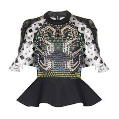 Peter Pilotto Carolina Embellished Print Top ($1,406) ❤ liked on Polyvore