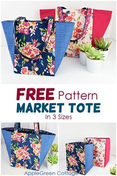 See how to make a tote bag using this free tote bag sewing pattern for a great looking market tote bag in 3 sizes. It can be used either as a storage basket or as a market bag. Easy sewing project, and no corner boxing required, due to a specific square bottom construction. Happy #sewing! #freepattern #bagpattern #totebag