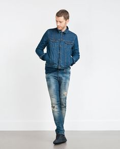 Image 1 of JEANS WITH LEATHER COIN POCKET from Zara