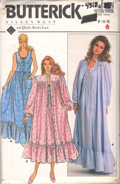 2cacbf5332 Butterick 4312 1980s Misses Designer EILEEN WEST Scoop Neck Nightgown and  Robe womens vintage sewing pattern