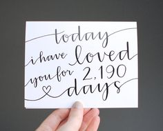 Romantic Card // Today I Have Loved You For So Many Days, Personalized Number, Modern Calligraphy, Black and White, Blank Inside, Single on Etsy, 4,94 €
