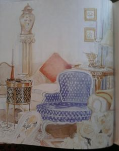 Mita Corsini Bland watercolor of Sister Parish's living room at 920 Fifth Avenue
