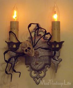 I would use a more realistic skull, and the cloth being used isn't great, something more tattered and begraggled is best. However, I really appreciate the idea of incorporating existing fixtures into the decorations