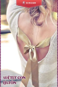 Suéter con listón #moda #reparacion #yolohice #Singer #moño #suéter