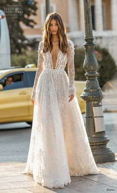 """If the words """"gorgeous long sleeve wedding dress"""" set your heart racing, you're in for a treat. Find your perfect long-sleeve wedding dress! Lace Wedding Dress With Sleeves, Bridal Wedding Dresses, Dream Wedding Dresses, Dresses With Sleeves, Berta Bridal, Lace Sleeves, Wedding Lace, Winter Wedding Dresses, Dresses Dresses"""