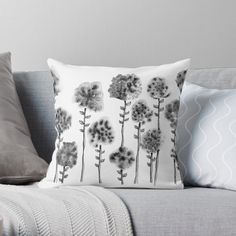 'Ink Flowers' Throw Pillow by PounceBoxArt Canvas Prints, Art Prints, Comforters, My Arts, Cushions, Clock, House Design, Throw Pillows, Ink