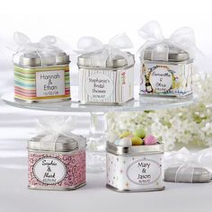 Personalized Square Favor Tins by Beau-coup