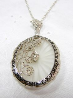 Vintage Camphor Glass and Diamond Filigree Necklace by VintageHand, $575.00