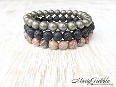 Jasper Pyrite Lava Stone Bracelet Stack, Mens Unisex Bracelet Set, Buddhist Jewelry, Earthy Boho Bracelets, Black Red Gray Healing Bracelets by MartyTribble on Etsy