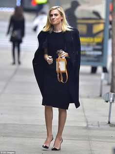 Lighter look: Allison Willians, 28, continued to flaunt her lighter 'do on the streets of New York on Thursday in a chic black ensemble