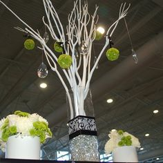 Modern Black white & Electric Green with crystals Wedding display.