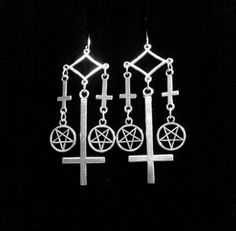 OCCULT BADASSITY - inverted cross silver earrings, unholy pagan pentagram, true Norwegian black metal, modern gothic jewelry, satanic symbols, occultism,  pentacle,  countess bathory, absu, satanic jewelry by Necronomicharm