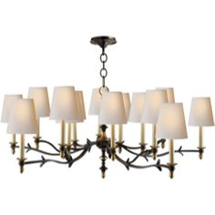 Visual Comfort Thomas O'Brien Chandler Large Chandelier in Blackened Rust with Hand-Rubbed Antique Brass and Natural Paper Shades TOB5111BR/...