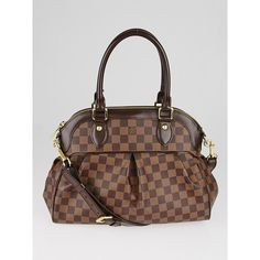 Pre-owned Louis Vuitton Damier Canvas Trevi PM Bag ($1,345) ❤ liked on Polyvore featuring bags, handbags, brown satchel handbag, man satchel bag, louis vuitton purse, canvas handbags and canvas man bag