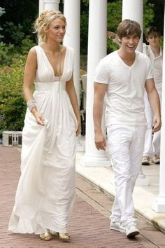 Blake Lively White Chiffon Evening Prom Gown Celebrity Dress Gossip Girl