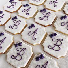 Purple & White Monogram Bridal Shower Cookies | Cookie Connection