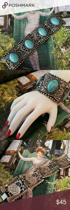 """1960's Vintage Panel Bracelet Blue Cabochons Excellant vintage condition. Heavy silvertone structure/craftsmanship. 4 panels 1.5"""" in circumference and 7"""" long. Fits small to medium size wrist. Vintage  Jewelry Bracelets"""