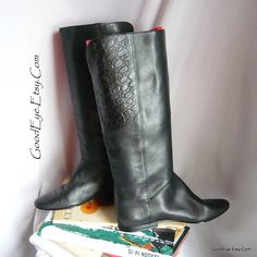 Vintage Gloria Vanderbilt Flat Knee Boots size 6 .5  B Eu 37 UK 4 Leather Black 80s Equestrian Slouch by GoodEye on Etsy
