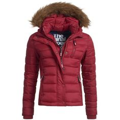 Superdry Fuji Slim Double Zip Hooded Jacket (205 BGN) ❤ liked on Polyvore featuring red, women and superdry