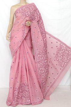 Lucknowi Chikankari Saree (With Blouse - Cotton) 12806