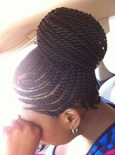 American and African Hair Braiding : Feeding Cornrow Ponytail - Beauty Haircut African Braids Hairstyles, Protective Hairstyles, Pretty Hairstyles, Braided Hairstyles, Black Hairstyles, Protective Styles, Travel Hairstyles, Hairstyle Ideas, Black Hair Bun