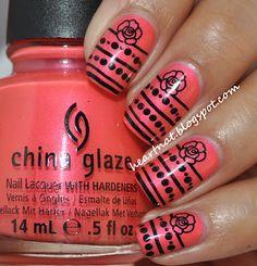 heartnat: China Glaze Flirty Tankini and Konad M79