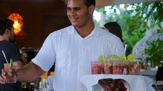 One of many handsome Dominican men serving you refreshing watermelon, mint and lime beverages at Sublime Samana.  This property was everything the name implies it might be. #NaturallyDR #goDomRep #Samana #LasTerrenas #hotel #beverages #hospitality #prettysocial