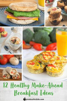 12 Healthy Make-Ahead Breakfast Ideas - Curb hectic mornings and start the day off right with a hearty breakfast! These make-ahead breakfast ideas, including overnight oats, breakfast burritos, muffins and more, are the key to easy mornings. Healthy Make Ahead Breakfast, What's For Breakfast, Quick And Easy Breakfast, Breakfast Burritos, Blueberry Mango Smoothie, Whole Wheat Muffins, Freezable Meals, Pumpkin French Toast, Overnight Oats