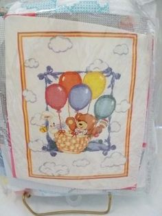 BABY-Stamped-Cross-Stitch-Baby-Quilt-Kit-Balloons-Teddy-Bears-Rabbits