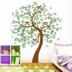 Amazing Wandtattoo Vier Eulen auf einem Baum farbig Farben Gr en